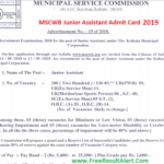 MSCWB Junior Assistant Admit Card 2019
