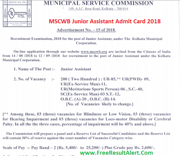 MSCWB Junior Assistant Admit Card 2018