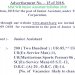 MSCWB Junior Assistant Syllabus 2018