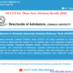 OUCET 1st Phase Seat Allotment Results 2019