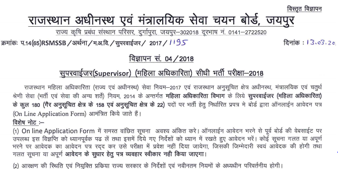 Rajasthan Mahila Supervisor Previous Paper Download