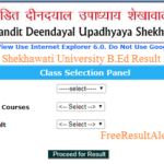 Shekhawati University B.Ed Result 2018