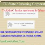 TASMAC Junior Assistant Syllabus 2018