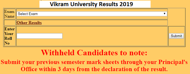 Vikram University BA 1st Year Result 2019