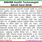 WBHRB Medical Technologist Admit Card 2018