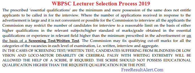 WBPSC Lecturer Admit Card 2019