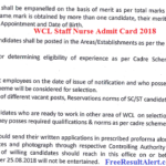 WCL Staff Nurse Admit Card 2018