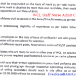 WCL Staff Nurse Admit Card 2019