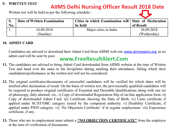 AIIMS Delhi Nursing Officer Result 2018