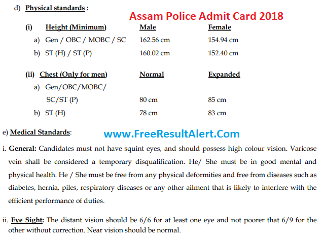 Assam Police SI Admit Card 2018 & Exam date assampolice.gov.in यहाँ देखें