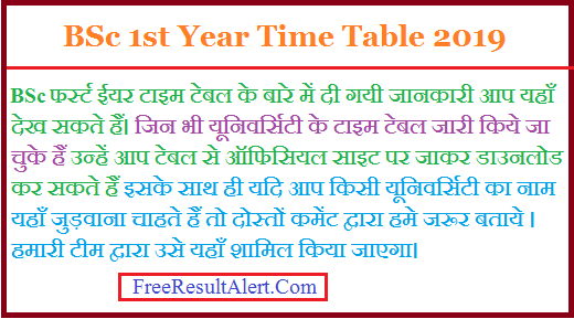BSc 1st Year Time Table 2019