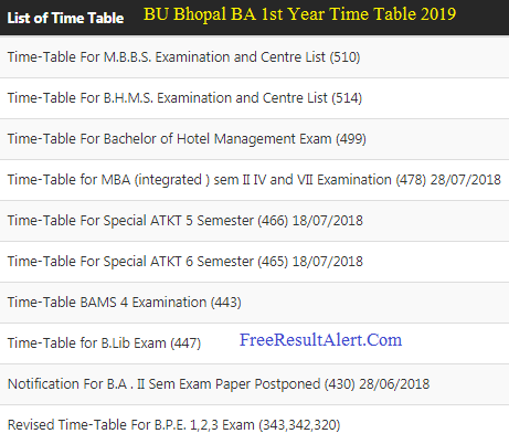 BU Bhopal BA 1st Year Time Table 2019