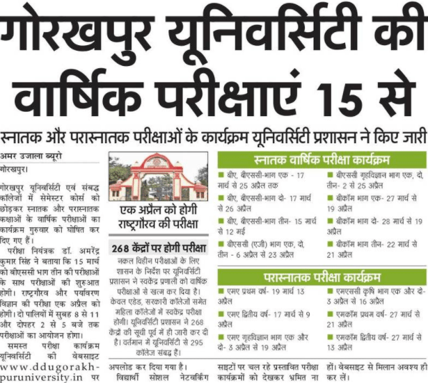 Gorakhpur University Online Exam Form 2019