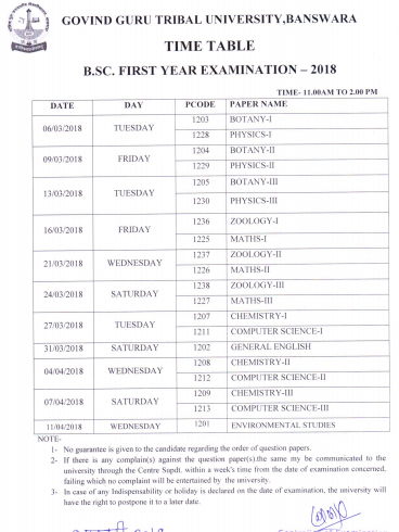 GGTU Time Table 2019