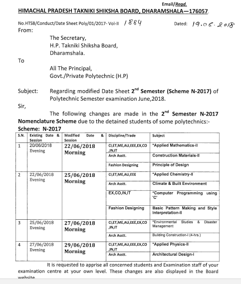 HPTECH Board Date Sheet Nov / Dec 2018-19