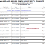 MGSU BA 2nd Year Time Table 2019