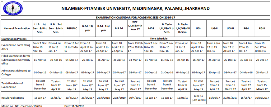NPU Time Table 2019