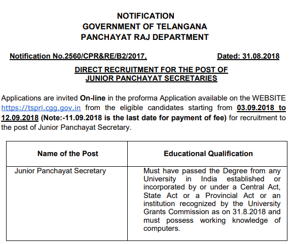 Telangana Panchayat Secretary Notification 2018