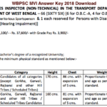 WBPSC MVI Answer Key 2018 Download