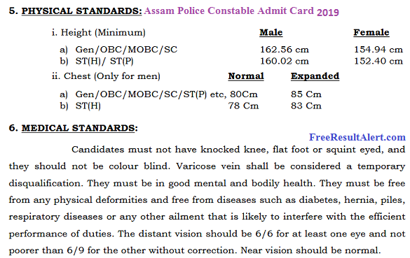 Assam Police Constable Admit Card 2019