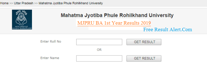MJPRU BA 1st Year Result 2019