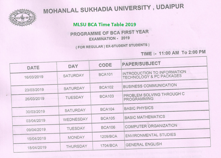 MLSU BCA time table