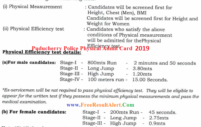 Puducherry Police Constable Admit Card 2019
