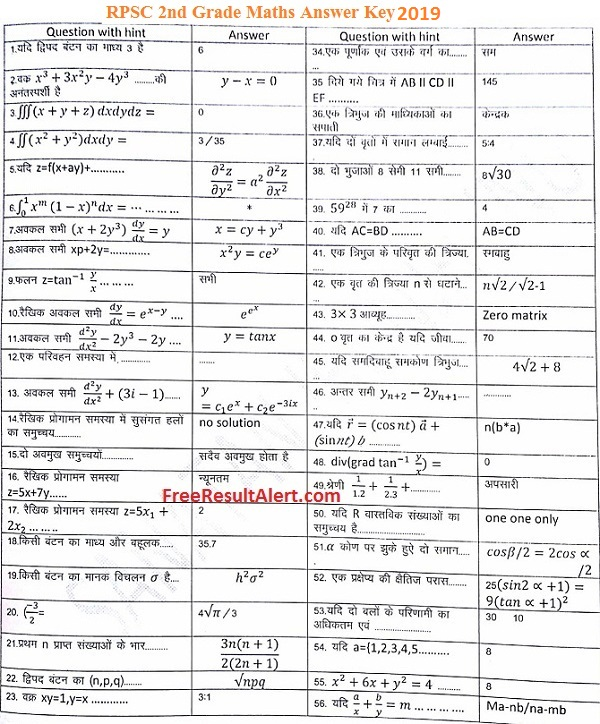RPSC 2nd Grade Maths Answer Key 2019