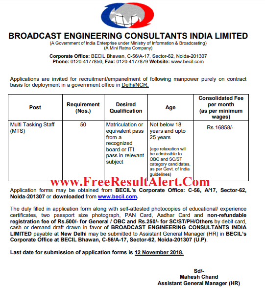 BECIL MTS Admit Card 2018