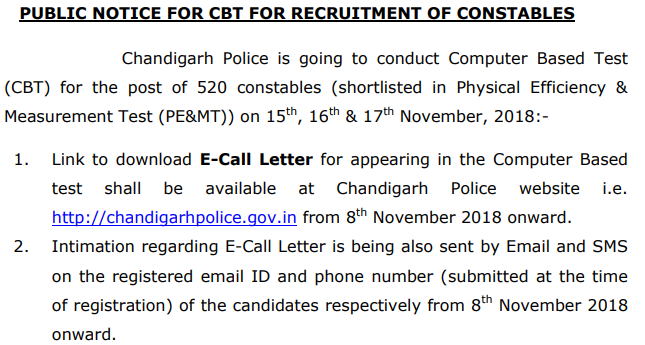Chandigarh Police Constable Result 2018