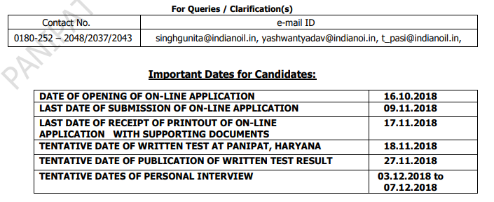 IOCL Panipat Refinery Apprentice Result 2018