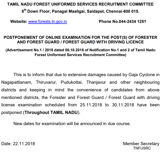 Forester exam date