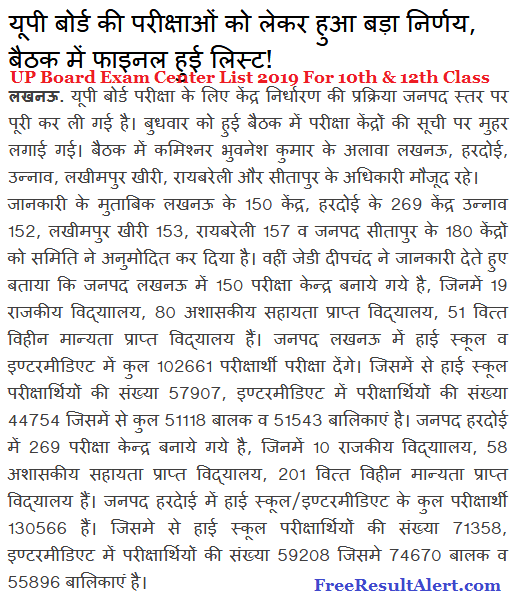 UP Board Exam Center List 2019 For 10th & 12th Class