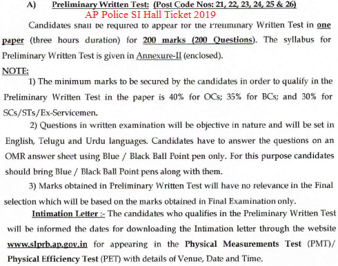 AP Police SI Hall Ticket 2019