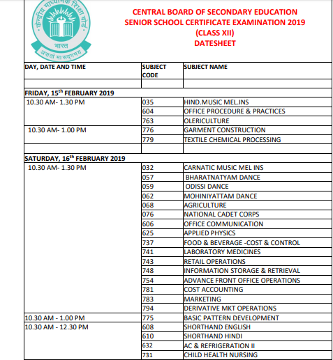 CBSE 12th Time Table 2019 Download