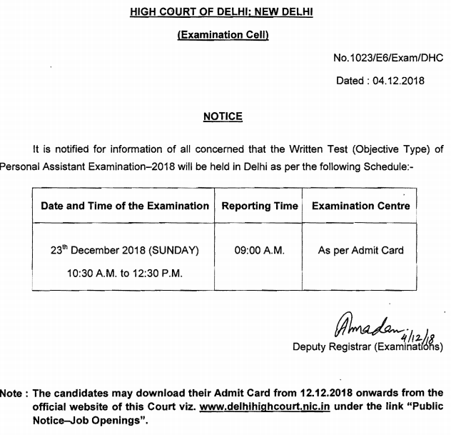 Delhi High Court Personal Assistant Answer Key 2018
