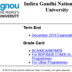 IGNOU Result December 2018