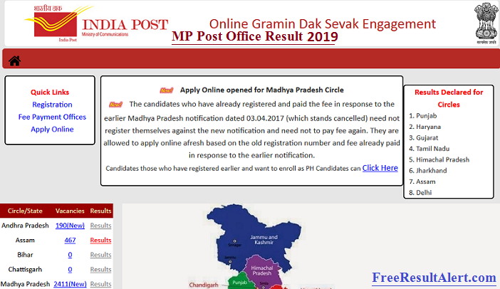 MP Post Office Result 2019
