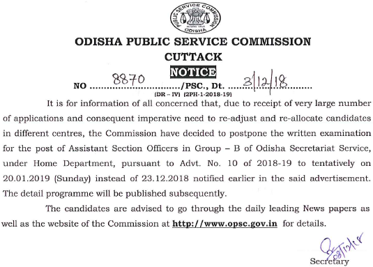 OPSC ASO Admit Card 2019