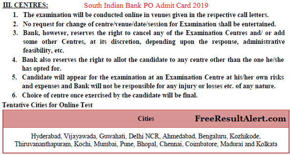 South Indian Bank PO Admit Card 2019