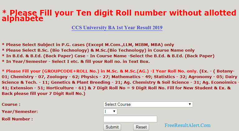 CCS University BA 1st Year Result 2019