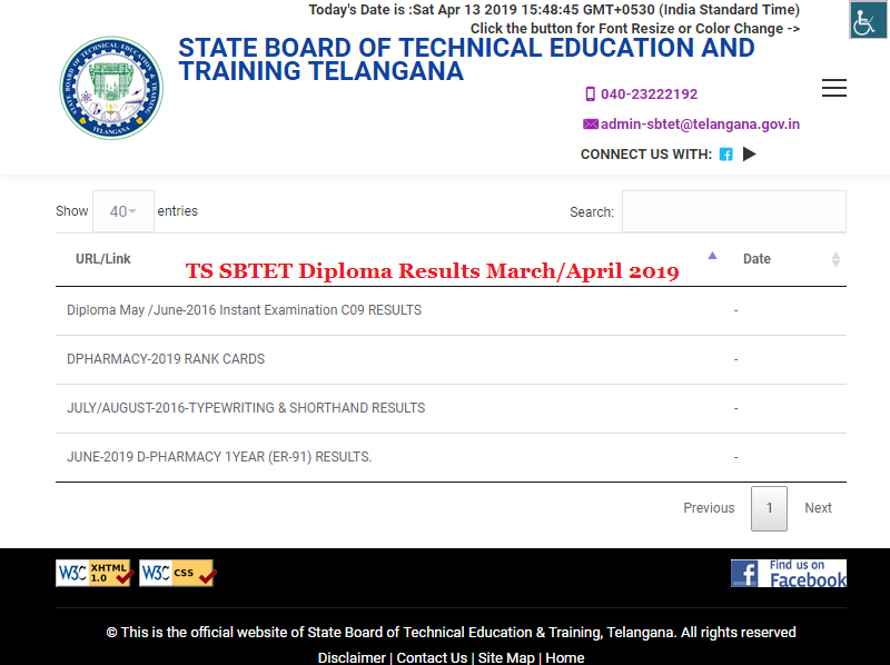 TS SBTET Diploma Results 2019 March April