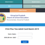 HP Board 12th Admit Card 2019