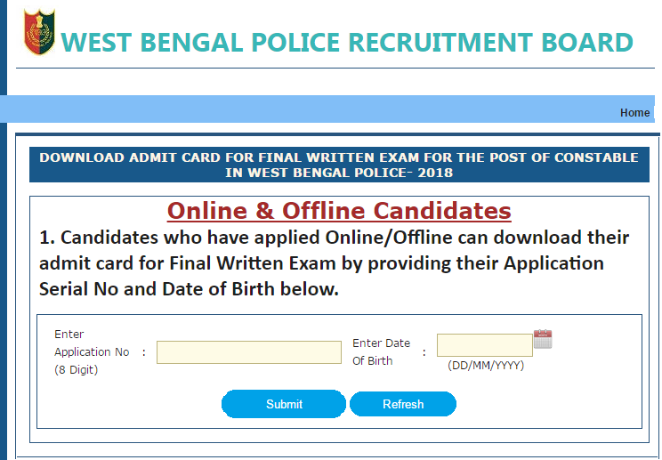 West Bengal Police Constable Final Exam 2018 Admit Card Download 2019