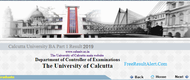 Calcutta University BA Part 1 Result 2019