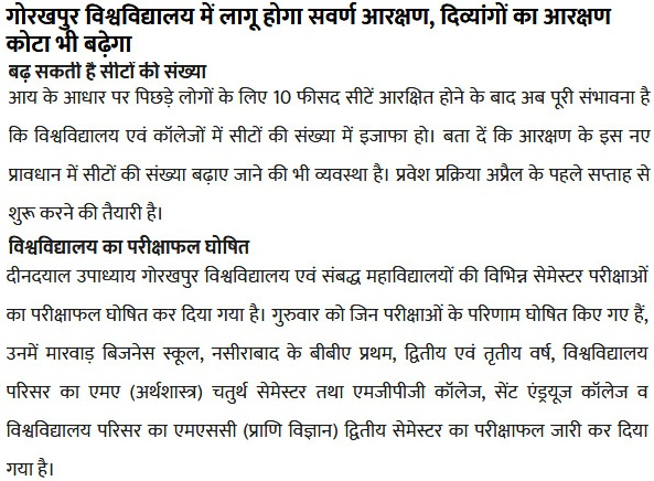 DDU Gorakhpur University BA 2nd Year Result 2019