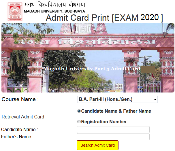 Magadh University Part 3 Admit Card 2020