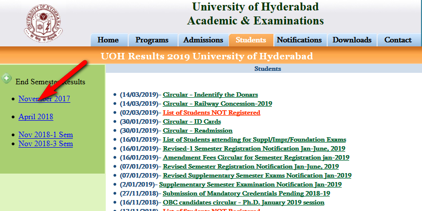 UOH Results 2019 University of Hyderabad