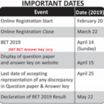 DBT BET Answer Key 2019
