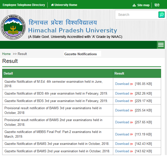 HPU Login RUSA Result 2019
